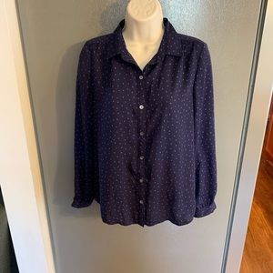 Lands' End Navy Polka Dot Button Down Blouse 6P